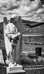 Angel (cutthroatsrule) Tags: monochrome angel bearcreek cemetery montana headstone grave
