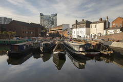 20180509_Gas Street Basin early (Damien Walmsley) Tags: gasstreetbasin cube thecube canals birmingham sky clouds water reflections