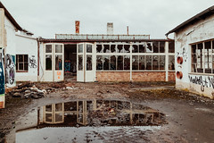 Party Palace (Thomas Listl) Tags: thomaslistl color architecture building windows reflection water abandoned decay doors urban factory empty ngc 24mm puddle