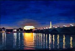 DC Reflections (Terry Pellmar) Tags: texture digitalart digitalpainting night lincolnmemorial washingtonmonument washingtondc potomacriver reflections sky skyline water bridge