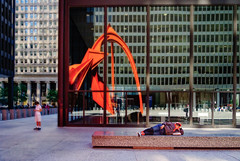 Color? Calder red. (Tiigra) Tags: chicago illinois unitedstates us 2017 architecture city color column contemporary glass light modernism neoclassicism person reflection repetition sculpture shadow shape art pattern arch