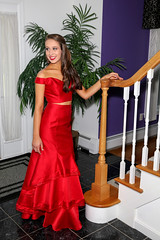 Katie - Look Away (Peter Camyre) Tags: prom dress gown pretty red staircase lady young teen high school portrait picture beauty beautiful brunette hair happy smile people friend