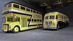 Stevensons Bus Garage. (ManOfYorkshire) Tags: aec routemaster frontentrance garage depot stevensons uttoxeter diecast scale models efe 176 oogauge yellow livery bedford dupkle vega bus coach 599lre rcn699