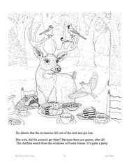 TeaPartyP13 (Alex Hiam) Tags: childrens book pages free landscape forest children sled snow birds animals chikadee badger deer baking cake chipmunk house cottage barn sleigh nature tea party teacup teapot cookies illustration drawing
