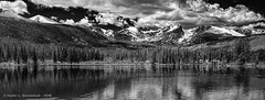 Sprague Lake In Black & White (HarrySchue) Tags: nikon nature nationalparks d800e spraguelake estesparkco lakes reflections reallyrightstuff blackwhite bwfilters mountains snowcappedpeaks snowcoveredpeaks trees clouds hiking