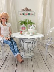 I posted this pic on my Facebook page and my friends and co-workers agreed that this doll looks like me. It's the only short hair blonde doll that I have, so I dressed her in something that I would wear!!! (JunqueDollBoutique) Tags: grace kelly barbie playscale dining table tea party shabby chic romantic country ghost chairs handmade furniture