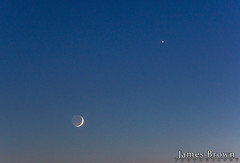 Waxing Crescent Moon (7.8% Illuminated with earthshine) & Venus (J. Brown Photography) Tags: james brown photography sony alpha tamron 70200mm moon planet venus conjunction night sky lunar astronomy astrophotography astro