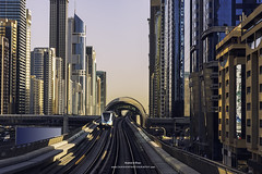 Dubai Metro UAE (Shahid A Khan) Tags: architecture dubai places travel uae cityscape design downtown elevated futuristic metro railroad railway skyline skyscrapers speedy subway terminal tower tracks transportation urban sakhanphotography shahidakhan nikon d750