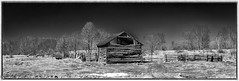 Abandonment    #HFF (maureen.elliott) Tags: blackandwhite landscape rural decay architecture fields fence shed old happyfencefriday derelict abandoned