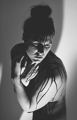 Ache (Alice Rose Photography) Tags: chronic fatigue human portrait bw nikond850 people portraiture ink black paint grey tired