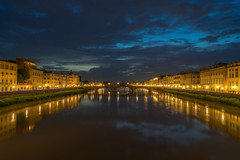Golden city at blue sunset (technodude67) Tags: 2018 colourful emotional firenze florence it italia italy landscape light longexposure medieval night nightphoto outdoor outdoors reflection river scenery toscana tuscany wanderlust water watertrail
