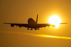 Singapore Airlines - Airbus A380-841 9V-SKG @ London Heathrow (Shaun Grist) Tags: 9vskg sia sq singaporeairlines singapore airbus a380 superjumbo shaungrist lhr egll london londonheathrow heathrow sunrise silhouette