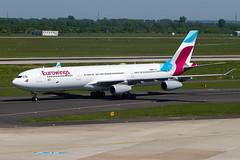 OO-SCX, Airbus A340-313, Eurowings (Brussels Airlines) (freekblokzijl) Tags: eurowings brusselsairlines eddl dus flughafen airport dusseldorf airbus airbusa340 a340 a340313 widebody holiday sunny spring may2018 taxien aankomst arrival germany ooscx planespotting vliegtuigspotten canon eos7d terras terrasse flugzeug deutschland longrange intercontinental