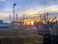 Watching the sun set from Jack Baker's Patio Bar in Point Pleasant Beach, NJ. Captured via an iPhone 8 Plus. (apardavila) Tags: jackbakerspatiobar jackbakerswharfside jerseyshore pointpleasantbeach fishingboat iphone iphone8plus river sky sun sunset