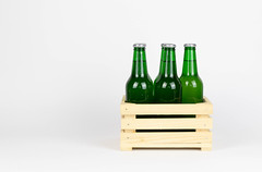 Wooden box with beer bottles (wuestenigel) Tags: beer drink weltmeisterschaft alcohol wooden box bier saufen fussball wm whitebackground wm2018 saufenwieingo bottles noperson keineperson bottle flasche glass glas full voll getränk container cold kalt lager isolated isoliert desktop alkohol wood holz