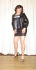 wetlook miniskirt - leatherlook jacket (Barb78ara) Tags: wetlook wetlookskirt miniskirt leatherlook leatherjacket velvet velvettop nylon nylons tannylon tanpantyhose paintednails paintedtoes highheels sandals stilettoheels stilettohighheels strappyheels strappysandalettes