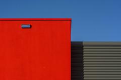 Red and grey facade (Jan van der Wolf) Tags: map183118v red grey gevel facade building architecture architectuur geometric geometry geometrisch gebouw shadow schaduw lines lijnen