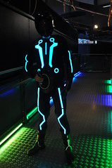 Tron 1 (Mrsuperpants) Tags: tron legacy light suit el electroluminescent sam helmet flynlives maker faire uk glow glowing identity disk