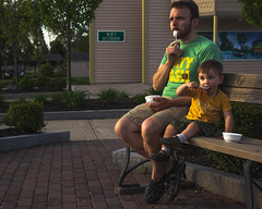 40|365 Two Boys Eating Ice Cream While Watching the Trains Go By (The Adventures of You & Me) Tags: son father boy toddler family eat icecream park bench