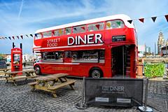 Street Food Diner (SteveJ442) Tags: liverpool merseyside uk england diner albertdock bus londonbus cafe red