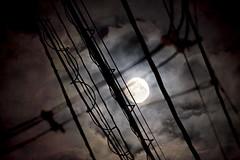Powerline Moon (David K. Werk) Tags: moon moonlight dark night poweline wire line cloud light bright full telephone spooky urban silhouette