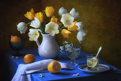 Still life with yellow and white tulips (Tatyana Skorokhod) Tags: натюрморт букет цветы тюльпаны весна