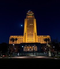 City Hall lit black and gold for the Los Angeles Football Club (LAFC)