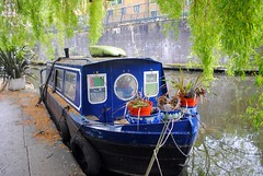 Blue boat for sale (zawtowers) Tags: jubilee greenway section 2 walk saturday 28th april 2018 cloudy damp littlevenicetocamdenlock regents canal amble stroll walking exploring london urban lisson grove moorings boat barge residential community blue green trees for sale buy purchase