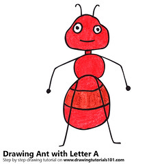 Ant from Letter A (drawingtutorials101.com) Tags: ant from letter a with animals letters sketching pencil color drawing drawings pencils how draw speed sketch sketches colors coloring