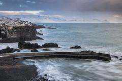 Hellner, Iceland (angie_1964) Tags: hellner iceland water coast ocean pier dock rock sand beach sky cloud sunset nikond850