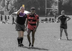 Strong arm of the law (Wendy G Davies) Tags: 70200lusm canon lightroom player rugbyunion sports sport colourpopping sentoff sevens rugby referee card yellow