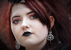 Street portrait from Sunday at the Whitby Gothic Weekend, April 2018 (Gordon.A) Tags: yorkshire whitby whitbygoths whitbygothicweekend whitbygothweekend wgw wgw2018 goth gothic girl creative makeup costume cosplay culture lifestyle style street festival event streetevent eventphotography amateur streetphotography streetportrait colourportrait colourstreetportrait portrait naturallight naturallightportrait pose posed digital canon eos canoneos750d sigma sigma50100mmf18dc