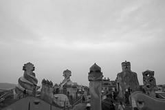 La Pedrera [I] (Olivier So) Tags: spain españa catalonia catalunya barcelona gaudi lapedrera casamilà worldheritagesite modernist building architecture rooftop bw blackwhite blackandwhite modernista