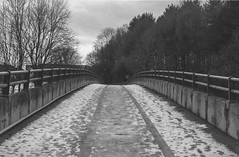 The Bridge - FP4 19 (Iain Jaques) Tags: leicestershire ratby snow december ilford ilfordfp4 fp4 fp4party 35mm filmphotography film analoguephotography eos3 canoneos3 iso125 m1 m1motorway bridge overbridge martinshawwood nikoncoolscan bw mono motorwaybridge