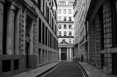The City of London (Sandrine Vivès-Rotger photography) Tags: london uk cityoflondon city finance financier banker architecture batiment road rue blackandwhite bnw windows street alone man working londres