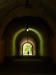 Contrast (grepe) Tags: contrast tunnel arch fortress bricks war child green warm cold sun