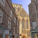 York: Minster Gates and York Minster in the golden light of dawn. thumbnail