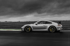 Porsche 991 GT3 CS Gen 2 (sfrancis23) Tags: race track porsche 991 gt3 cs gen 2 rain colour pop circuit nikon d850 2470mm castle combe wiltshire bw automotive car supercar performancecar silver sky green yellow
