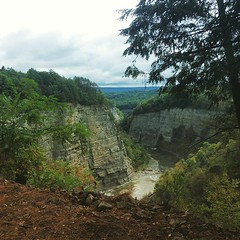 height (HalcyonPhotos) Tags: gorge rock formation water stream autumn outdoors letchworth ny leaves high clouds nature