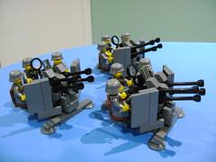 Custom Lego WW2 German canon Flakvierling 38 trio (TekBrick) Tags: custom lego ww2 canon flakvierling 38 war german trio moc antiair