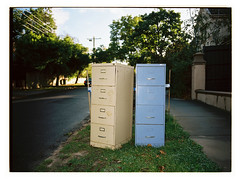Two Filing Cabinets (@fotodudenz) Tags: surrey hills melbourne victoria australia 2018 fuji fujifilm ga645w ga645wi medium format film rangefinder wide angle point shoot 28mm 45mm kodak portra 160 filing cabinets blue beige green grass