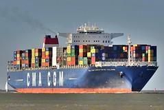 CMA CGM Christophe Colombe (Bernhard Fuchs) Tags: boat cargo cargoships containerschiff containerschiffe elbe cmacgm frachtschiff frachtschiffe nikon schiffe ship ships vessel water schiff boot wasser cuxhaven