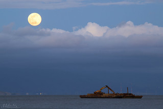 Moonrise and Working Craft on the S.F. Bay