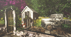 When work is play.... (kellytopaz) Tags: second life pick up truck garden landscape shed flowers pots apple fall gate ivy
