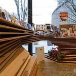 Original layered wooden panels tables. Interesting idea.