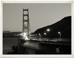 The Golden Gate (PDX Bailey) Tags: black white san francisco california golden gate bridge traffic car auto automobile dusk evening