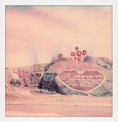 God Is Love (tobysx70) Tags: polaroid originals color 600 instant film slr680 god is love salvation mountain beal road niland imperial county california ca folk art shrine christian jesus cross sinner adobe straw paint leonard knight mojave desert polaroadtrip polawalk 030718 toby hancock photography