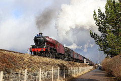 Slochd summit take two (Andrew Edkins) Tags: 45699 galatea jubileeclass lner b1class 1264 slochd scotland uksteam railwayphotography thegreatbritainxi light summit car bmw travel trip lms geotagged april 2018 spring doubleheader