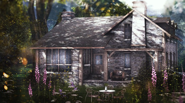 trompeloeil collabor88 mudhoney theseasonsstory tarte neveryoumind heartgardens tspot secondlife sl outdoors cottage home decor architecture barrell bench furniture