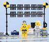 LEGO Crash test zone 3/6 (Alex THELEGOFAN) Tags: lego legography minifigure minifigures minifig minifigurine minifigs minifigurines crash test car zone area yellow black light gray white stripes wall camera girl dummy moc creation